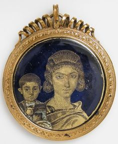 *ALEXANDRIA, EGYPT ~ Gold Glass Medallion with a Mother and Child, early century Made in (probably) Alexandria, Egypt Culture: Roman Medium: Glass, gold leaf Metropolitan Museum of Art Accession Number: Roman History, Art History, Art Romain, Objets Antiques, Egypt Culture, Roman Jewelry, Empire Romain, Art Antique, Miniature Portraits