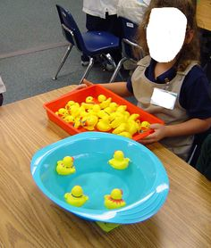 """students have to count dots on dice and place corresponding number of ducks in """"pond"""""""