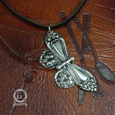 Spoon Butterfly Pendant - Inspired by Antique Victorian Silverware - Hand Cast Necklace - Handmade Jewelry Creation By Doctorgus