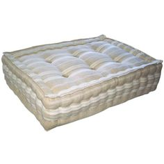 """""""Made to measure, hand stuffed with natural sheeps wool, hand welted and tufted, like the European mattresses of the past. wool is resilient and springs back to shape after use, making it very comfortable. Use your own fabric or choose from a selection of antique French mattress ticking."""""""