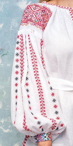 """Rainbow linen blouse with embroidery """"Rukavianka"""" Sleeves Designs For Dresses, Sleeve Designs, Embroidered Roses, Model Look, Linen Blouse, Clothing Items, Designer Dresses, Fashion Outfits, Embroidery"""