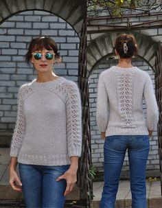 Svetlana Volkova, Ravelry | Design Details | front yoke and shoulder shaping, back pattern panel