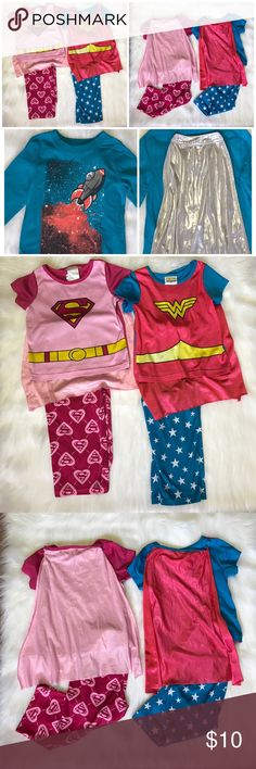 3t Cape Bundle Blue Space Cape Top is by Circo Size 3t. The other two sets are Pjs. Official Wonder Woman and Super Girl Brands. Gently used. Bundle and save 15%! Pajamas