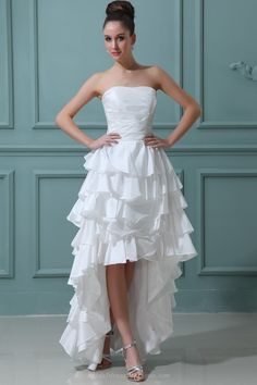 Ruffles A-line Strapless Front High Back Low Layers Summer Wedding Dress