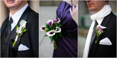 ranunculus, white garden roses and purple calla lilies