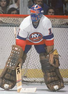"Glenn ""Chico"" Resch earned his nickname when playing with the New York Islanders in the He was called ""Chico"" because of his resemblance to actor Freddie Prinze who starred in the sit-com ""Chico and the Man. Hockey Goalie, Hockey Teams, Hockey Players, Nhl, Nfl Highlights, Hockey Rules, Goalie Mask, New York Islanders, Sports"