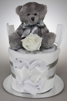 Unisex Nappy Cake with Silver Teddy Bear Available in 3 Sizes
