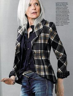 Fashion Over Fifty | Mature Women Style I love this jacket and jeans, but I think the hair style and make up are overstated over done