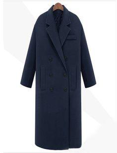 Военно-морской флот нагрудные Двойной Брестед Карманы длинное пальто