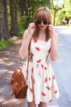 Watermelon dress with side cutouts Miami Fashion, Fashion 2020, Cool Outfits, Summer Outfits, Fashion Outfits, Stylish Outfits, Watermelon Festival, Watermelon Dress, Spring Summer Fashion
