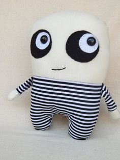 This makes me think of Uncle Fester as a baby! Ha! Loving the stripes & dark eyes! Halloween Plush Doll Lil' Creepy by MsBittyKnacks on Etsy, $15.00
