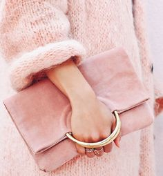 The Las Salinas Suede Clutch in Ibiza Sunset. Blush colored clutch handbag and fur rose colored coat. My Bags, Purses And Bags, Fashion Bags, Fashion Accessories, Pink Accessories, Fashion Heels, Pink Fashion, Handbag Accessories, Dress Fashion