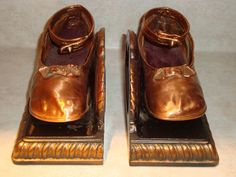 Vintage Bronze Girl's Shoes Bookends - ADORABLE - Ankle Straps & Bows - Estate