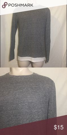 Long Fit Tee Gray long fit long sleeve tee with white trim from Forever 21 Forever 21 Shirts Tees - Long Sleeve