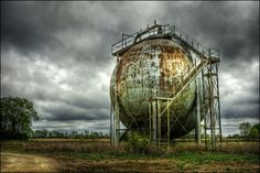 Visit the abandoned Morton Sphere, a rusted storage tank that was once part of the Gopher Ordnance Works, a wartime gunpowder factory in Minnesota.