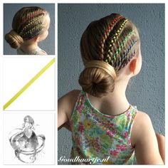 Rainbow updo with. Rainbow updo with five colors ribbon from Goudhaartje. Baby Girl Hairstyles, Princess Hairstyles, Unique Hairstyles, Up Hairstyles, Braided Hairstyles, Braids For Kids, Girls Braids, Ribbon Hairstyle, Ribbon Braids