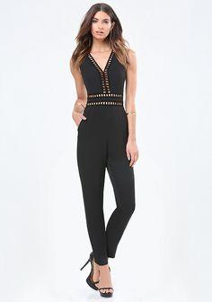 Playfully sexy jumpsuit with skin-baring openwork trim and a cutout back. Vented hems. Back neck button-loop closures. Hidden back hook-and-eye and zip closure. Partially lined.