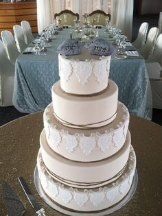 Custom Five Tiered Fondant Wedding Cake With Lace Twine And Handmade Topper