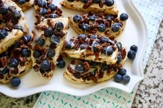Turn simple cinnamon rolls into breakfast pizzas with the addition of cinnamon sugar roasted pecans and blueberries! Brunch Recipes, Breakfast Recipes, Dessert Recipes, Pillsbury Cinnamon Rolls, Recipe Builder, Sugar Free Maple Syrup, Roasted Pecans, Blueberry Recipes, Breakfast Pizza