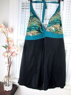 3580b7d8c81ca Tropical Escape Teal Gold Black Halter 1 Piece Swimsuit Swim Dress Plus size  22W