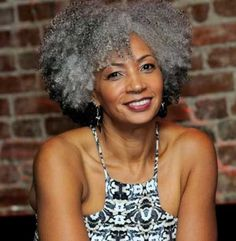 curly hairstyle for older black women with grey hair