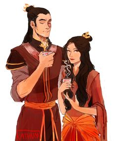 Kind of a late Father's Day doodle: Zuko and daughter enjoying tea :D