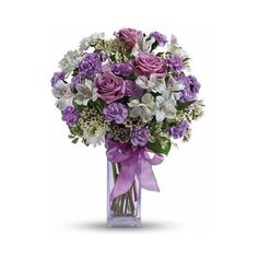 Lavish Lavender Roses Bouquet ($32) ❤ liked on Polyvore featuring home, home decor, floral decor, blooming bouquet, lilac bouquet, flower stem, lavender bouquet and rose flower bouquet