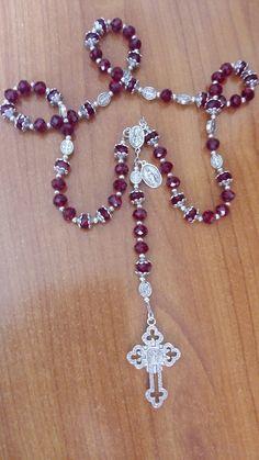 Rosario Católico.  Cristales y pewter