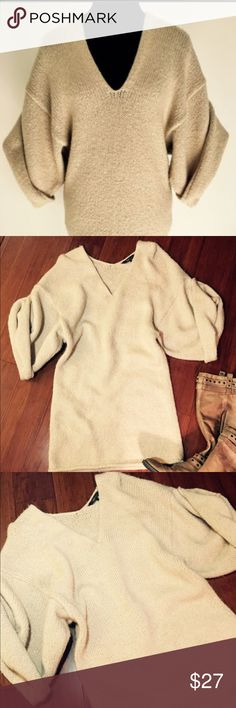 BCBGMaxAzria Short Sleeve Sweater Dress Cotton wool blend, this preloved sweater dress  in an oatmeal-cream color is great with spandex or leather leggings!  XSmall BCBGMaxAzria Dresses Midi