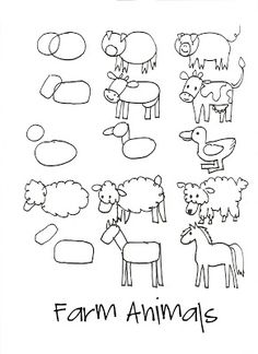 simple step-by-step farm animal drawings