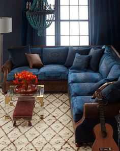 Shop Blue Woodstock Sectional Sofa from Old Hickory Tannery at Horchow, where you'll find new lower shipping on hundreds of home furnishings and gifts. Old Hickory Tannery, Sofa Deals, Best Leather Sofa, Couch Set, Corner Sofa, Furniture Making, Furniture Ideas, Sofa Design, Sectional Sofa