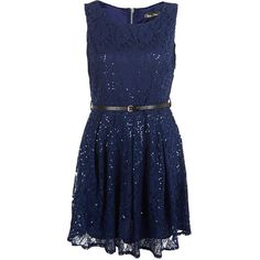 Mela Blue Sequin Lace Belted Dress (€40) ❤ liked on Polyvore featuring dresses, party dresses, sequin cocktail dresses, lace dress, sequin party dresses and fit & flare dress
