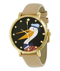 Another great find on #zulily! Tan & Black Goose Leather-Strap Watch #zulilyfinds