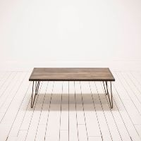 Mid-Century Modern Wood Coffee Table | Hairpin Legs | Birch & Brass Vintage Rentals | Weddings and Corporate Events | Austin, Texas