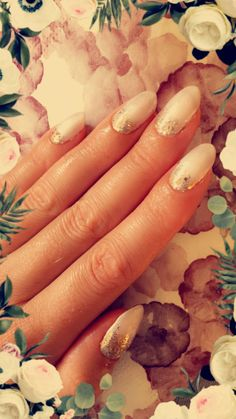 CND Shellac on natural nail. Studio White with Lecenté White Ombrè and Multi Glitz Sand❄️By White Ombre, Shellac Nails, Nail Studio, Natural Nails, Painting, Paintings, Draw, Drawings, Shellac
