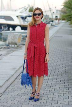 1.2.3 Paris broderie anglaise dress, Giancarlo Paoli shoes and Iaya Asciani clutch