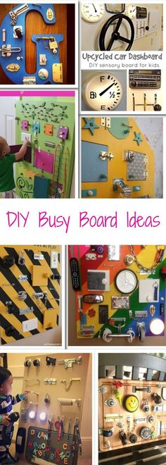 NEW: Sensory Board PICTURES! DIY Toddler Busy Boards for 2019 super creative and unique toddler busy board ideas that we just love. These homemade activity boards are relatively easy for you to make yourself with random household objects you probably Busy Boards For Toddlers, Board For Kids, Diy For Kids, Toddler Busy Board, Busy Board Baby, Toddler Play, Toddler Gifts, Diy Toys For Toddlers, Diy Clothes For School