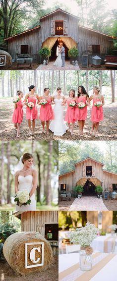 Elegant Barn Wedding- love the hay bale with the monogram & frame!