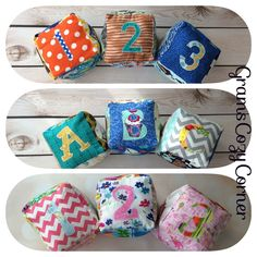 ABC, 123, soft stuffed, Baby blocks, Fabric, soft, stuffed set of 3 blocks, with crinkle panel and bell inside, perfect for the nursery by GramsCozyCorner on Etsy