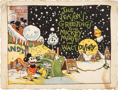 Walt Disney Studios very first Christmas card - 1930  Artist:  Floyd Gottfredson