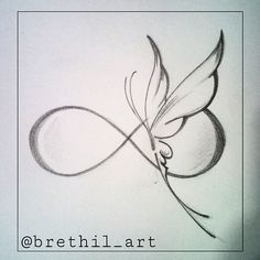 #butterfly #infinity #sketch #tattooedgirl #tattoosocietymagazine #tattoo…