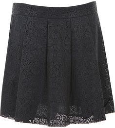 Thakoon Blue Navy Pleated Perforated Leather Skirt