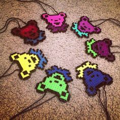 Grateful Dead Bear Perler Necklace by electricbonesS on Etsy, $4.99