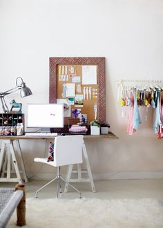 Minimalistic desk space. I want to frame a dry erase board like the bulletin board here