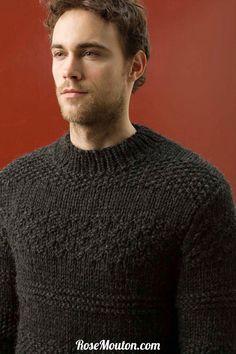 Pullover homme tricoté avec la qualité Kim de Lang Yarns.  Catalogue Lang Yarns Urban FAM 238.  #pullover #pull #homme #laine #langyarns #lang #tricot #tricoter #yarn #knit #knitting #wool #rosemouton