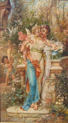"Hans Zatzka (Austrian, 1859-1945) A Superb Quality Oil on Canvas Titled ""Spring Love"""