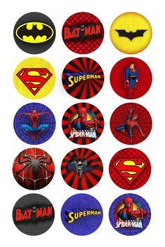 Superhéroes de impresión gratuita primeros, etiquetas o adhesivos.