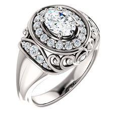 0.75 Ct Oval Diamond Engagement Ring 14k White Gold