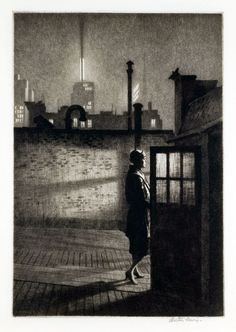 Martin Lewis, Little Penthouse,1931. Drypoint, 9 7/8 x 6 ¾ inCollection of Dr. Dorrance T. Kelly © Estate of Martin Lewis