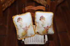 Pair of Cushions made by transferring images to fabric http://stores.ebay.com/happyharvesterminiatures